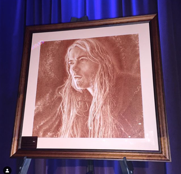 """Gregg"", Vincent's portrait for Gregg Allman's final studio album, ""Southern Blood"" on exhibit at the Grammy Museum"